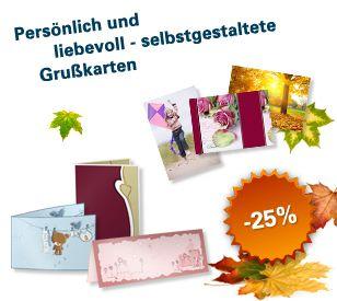 Herbstaktionen bei Austrobild! Bis 4. November gibts es 25% Rabatt auf alle Foto-Grußkarten (Hoch- und Querformat, Grußkarten 4-seitig). Mit der kostenlosen Bestellsoftware können Sie ganz individuelle und persönliche Grußkarten gestalten und bis 4.11. auch noch 25% sparen.
