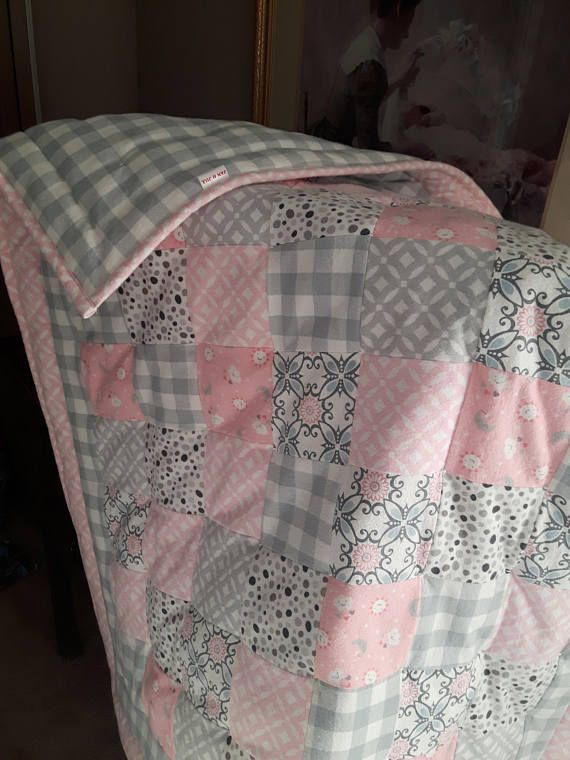 Pink And Grey Flannel Baby Quilt Handmade Baby Girl Blanket