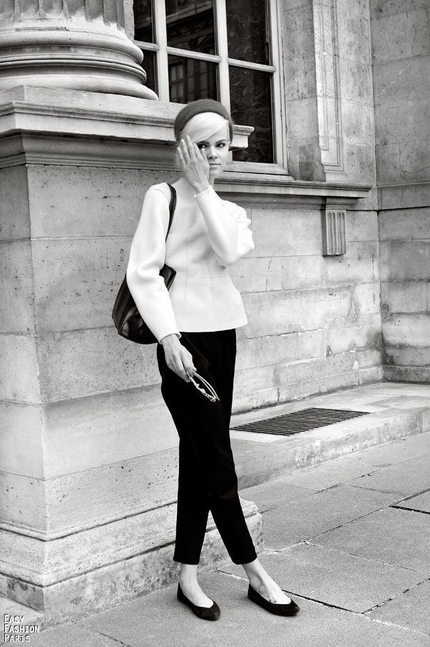 d03f504845bd9 Classic black and white. The short trousers and ballerina flats ...
