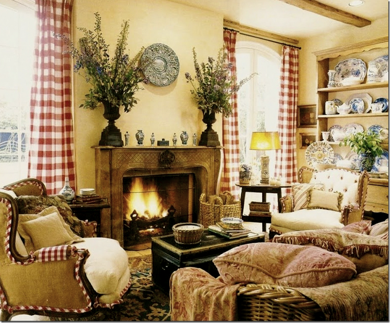 Love The Red Buffalo Check Drapes French Country Family Room