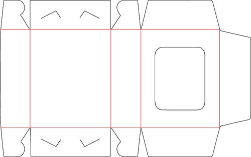 free 3d diy box with window svg template with red score lines no glue all in one box cricut. Black Bedroom Furniture Sets. Home Design Ideas