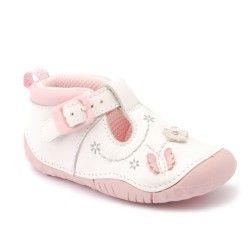 8bba2420a01 Zapatos De Bebé · White Leather Buckle T-bar Girls Pre-Walker Shoes  Calzado, Fisher Price,