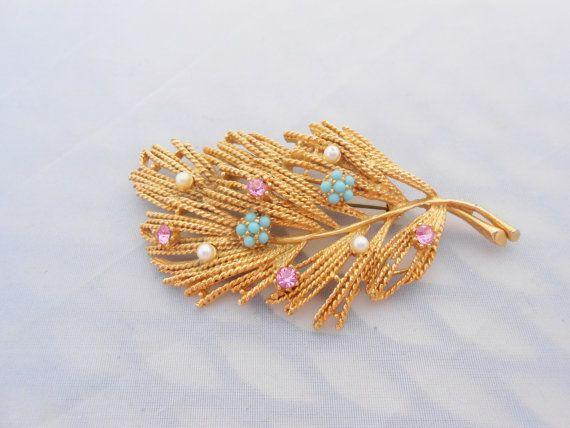 Jeweled Textured Rhinestone Leaf Brooch Pin by Libbysmomsvintage