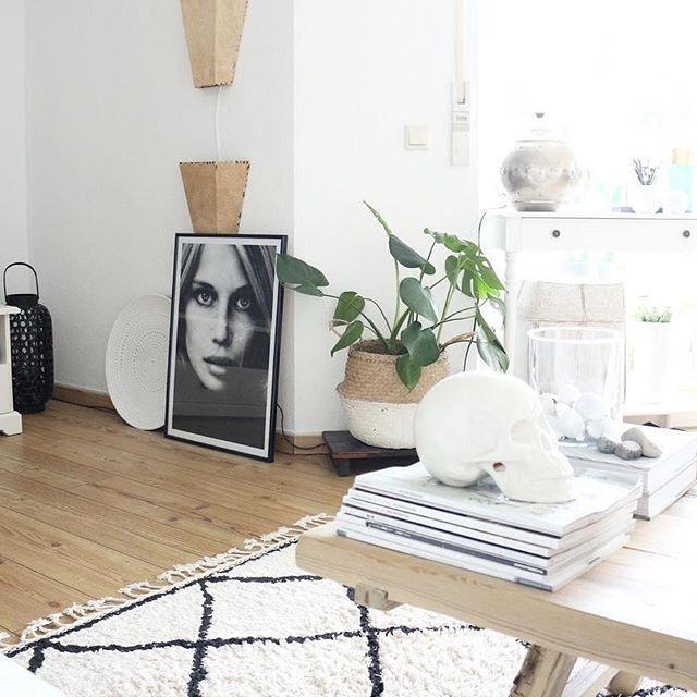 Handgetufteter Teppich Wiltshire Interiors - wohnzimmer deko schwarz weiss