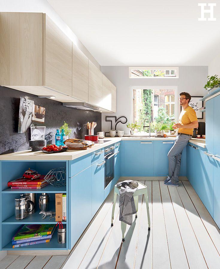 Blaue Kuchenfronten Sorgen Fur Einen Frischen Look Kuche Einrichtung Idee Kuche Kuche Einrichten Neue Kuche