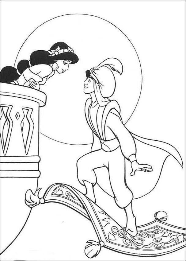 Disneys Aladdin And Princess Jasmine Coloring Pages Free Online Printable Sheets For Kids Get The Latest