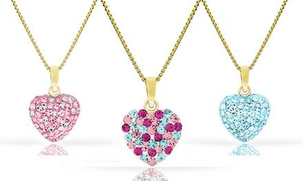 $7.99 This heart pendant is covered in bright crystals and 14K gold for a captivating token of your love for your little one