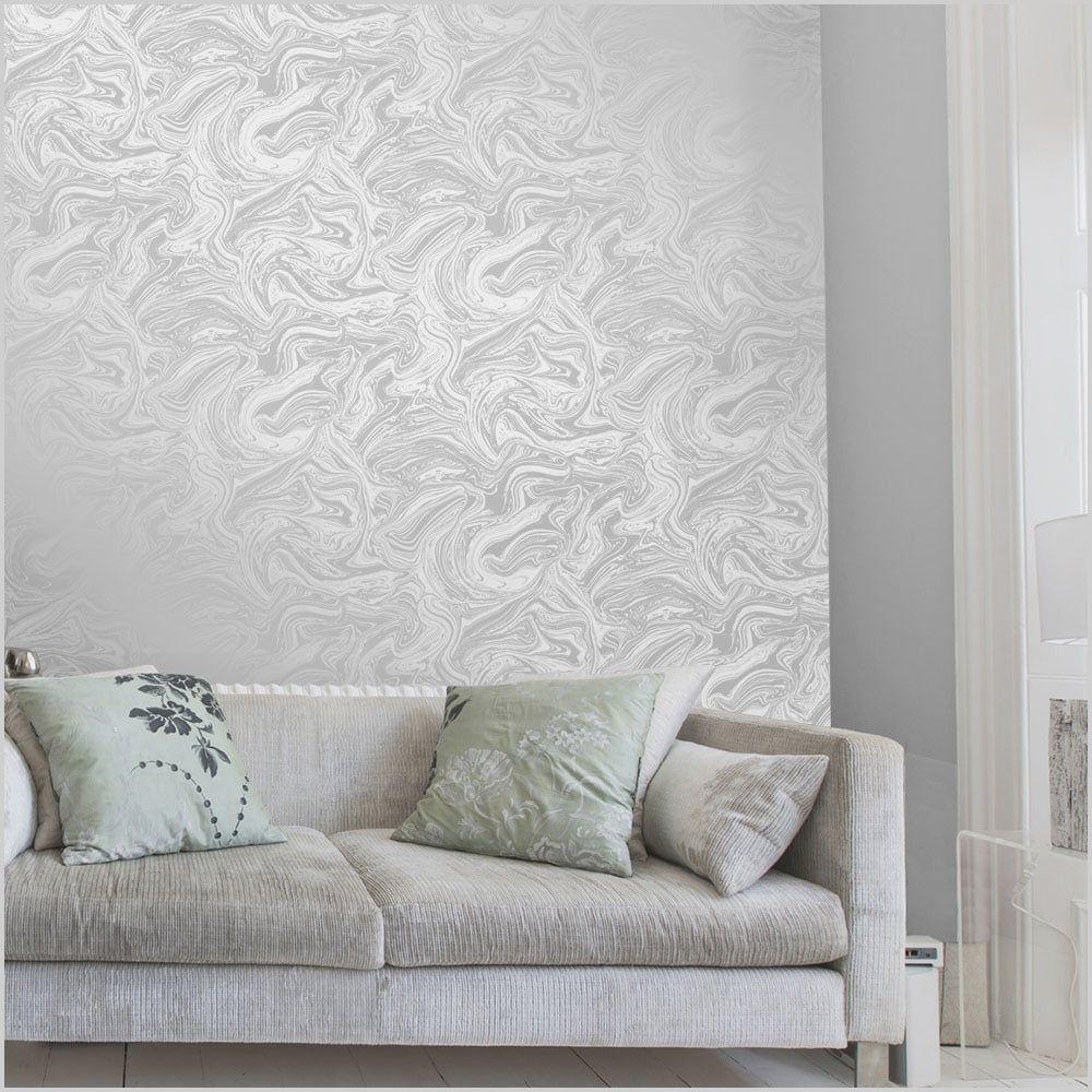 Grey Marble Wallpaper Living Room In 2020 Silver Grey Li
