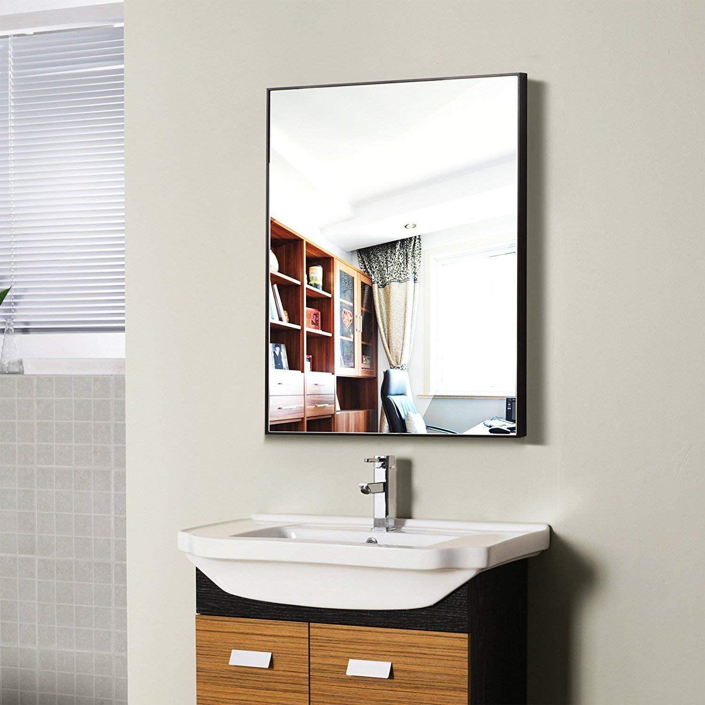 Amazon Com Hans Alice Large Rectangular Bathroom Mirror Wall Mounted Wooden Frame Va Rectangular Bathroom Mirror Mirror Wall Bathroom Bathroom Mirror Frame