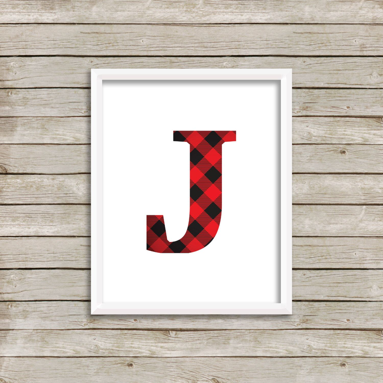 Letter J Printable 8x10 Instant Initial Plaid Monogram