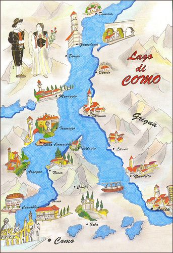Lago di Como-mappa. We stayed in Varenna, ferried to Bellagio and back, and had such a blissful stay. This is the one place in Italy I would love to return to as often as possible.