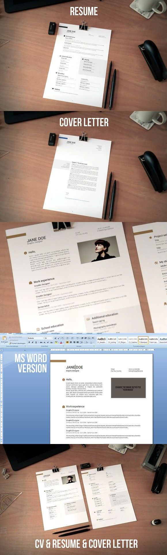 CV resume and cover letter set