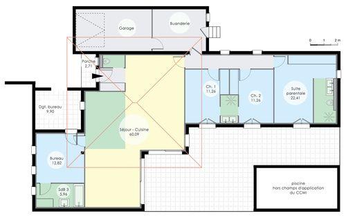 plan de maison 6 chambres plain pied gratuit