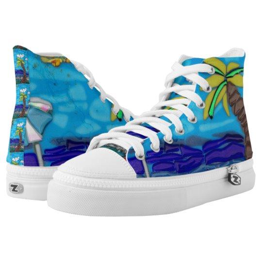 Life's a beach fused-glass boho sneaker | Zazzle.com