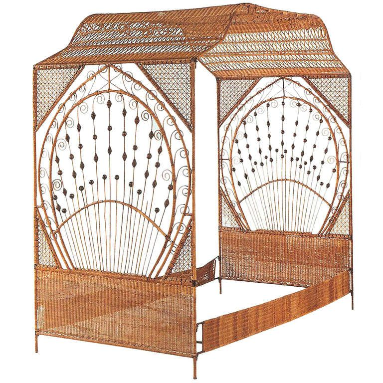 A Fine Decorated Wicker Canope Bed, featured in Architectural Digest ...