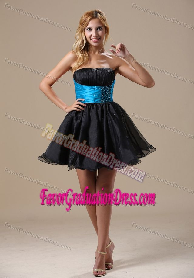 New Ruched and Beaded Black and Blue Graduation Dresses for High School