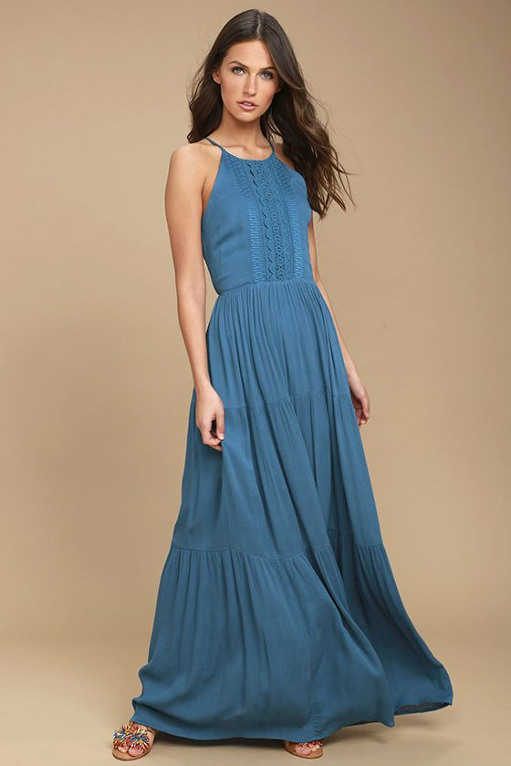 For Life Teal Blue Embroidered Maxi Dress   Teal blue, Maxi dresses ...