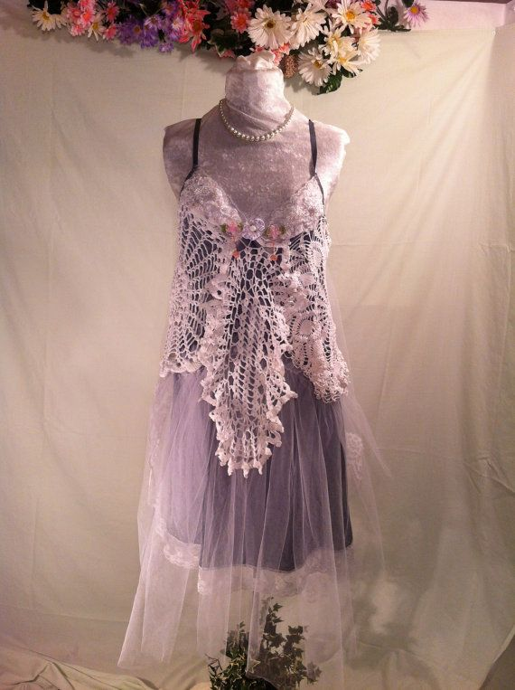 6e5932423e6 Sale Upcycled Wedding Dress   Bohemian Dress   Upcycled Clothing   Crochet  Dress   Prom Dress   By Intrigues
