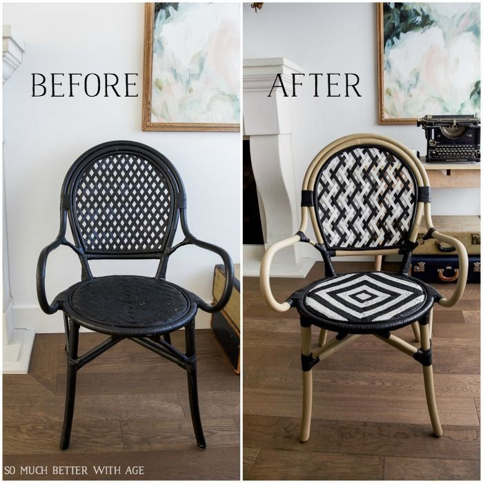 Diy French Bistro Chair Before And After Black Ikea Chair Painted French Bistro Chair So Much Better With French Bistro Chairs Bistro Chairs Patio Furniture