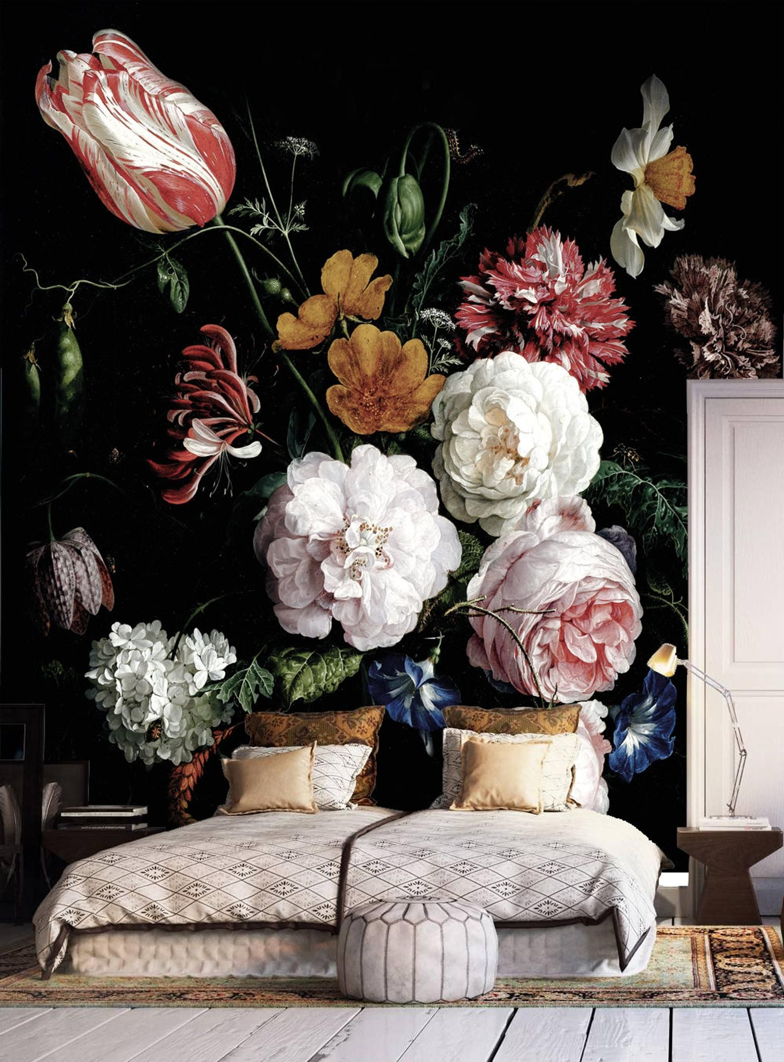 Dark floral peel and stick wallpaper, Dutch flowers oil