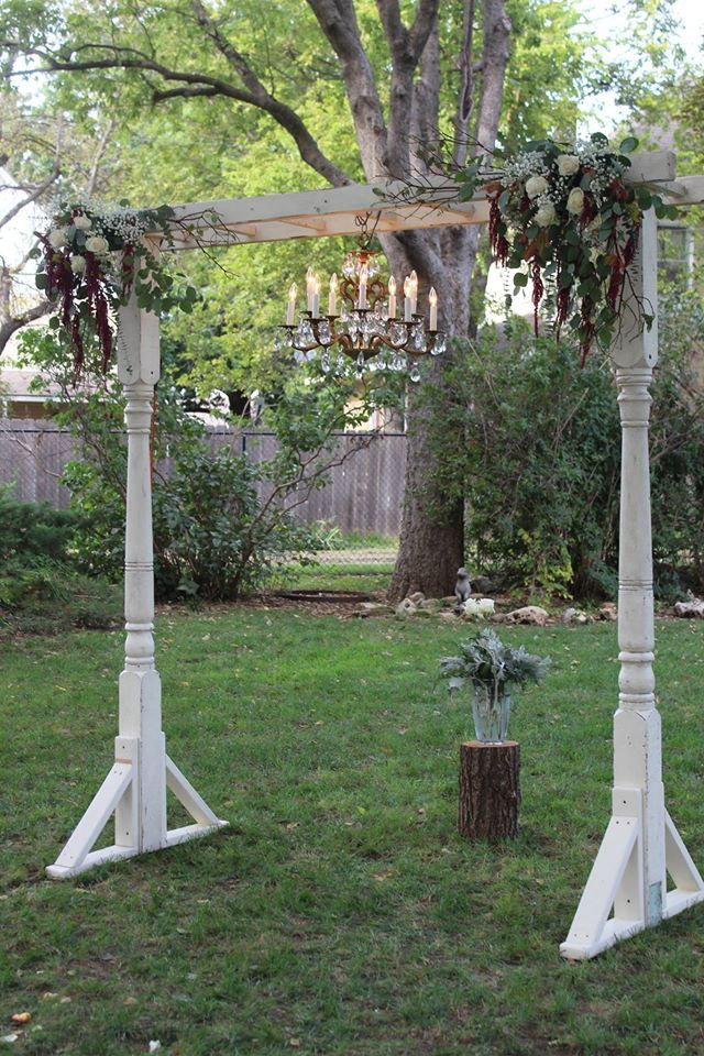 Porch Post Arbor W Vintage Chandelier Wedding Arches In