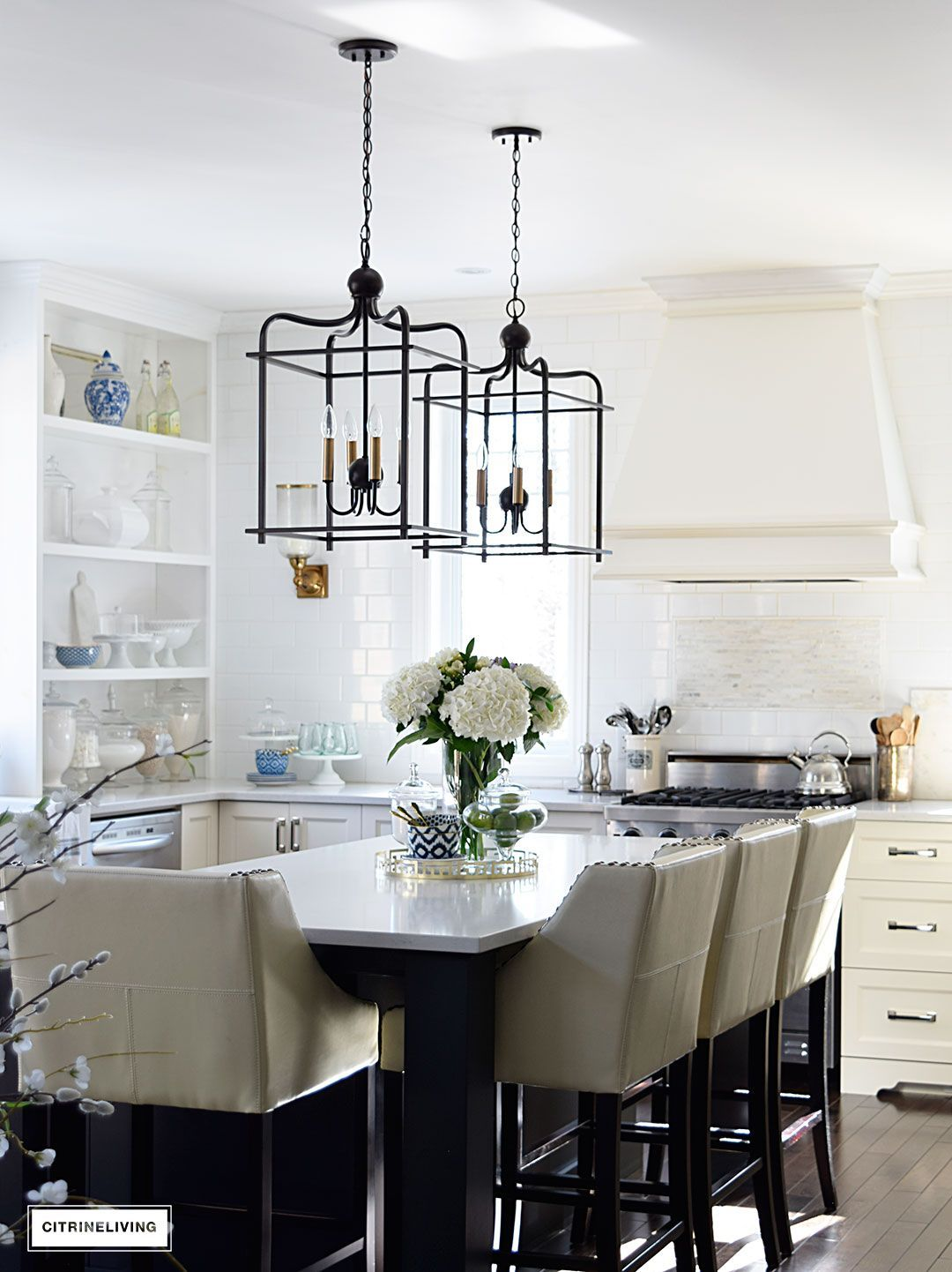 lantern style pendant lighting. Bright And Airy Kitchen With Lantern Style Pendant Lighting Over The Island. A