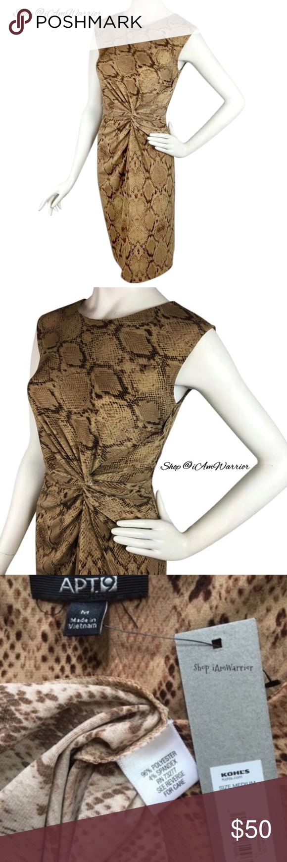 🆕NWT Pretty animal print twist knot stretch dress 🆕Great little camel & brown animal print dress with flattering side twist knot style.  Soft stretchy fabric. A seasonless & versatile dress. No longer sold!❗Please read my recently updated 'about me and my closet' listing for pricing/policies. Apt. 9 Dresses