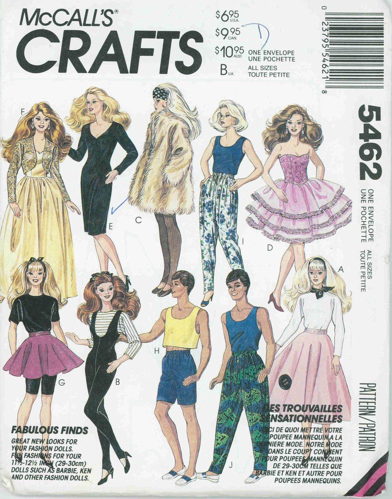 PDF Barbie Dolls 11-12 and Ken Dolls 12 Vintage Sewing Pattern