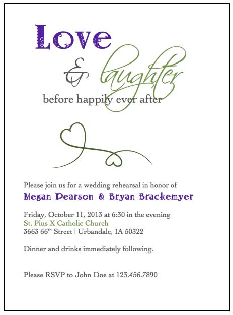 Rehearsal Dinner Invitations Wedding Green Invitation Purple