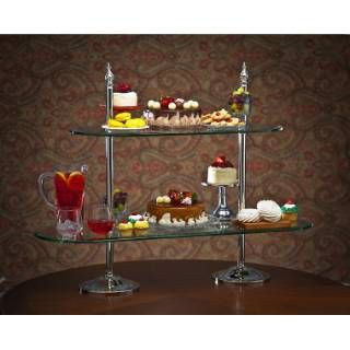 "Check out the Godinger 29618 40"" / 30"" Glass 2 Tier Etagere priced at $217.50 at Homeclick.com."
