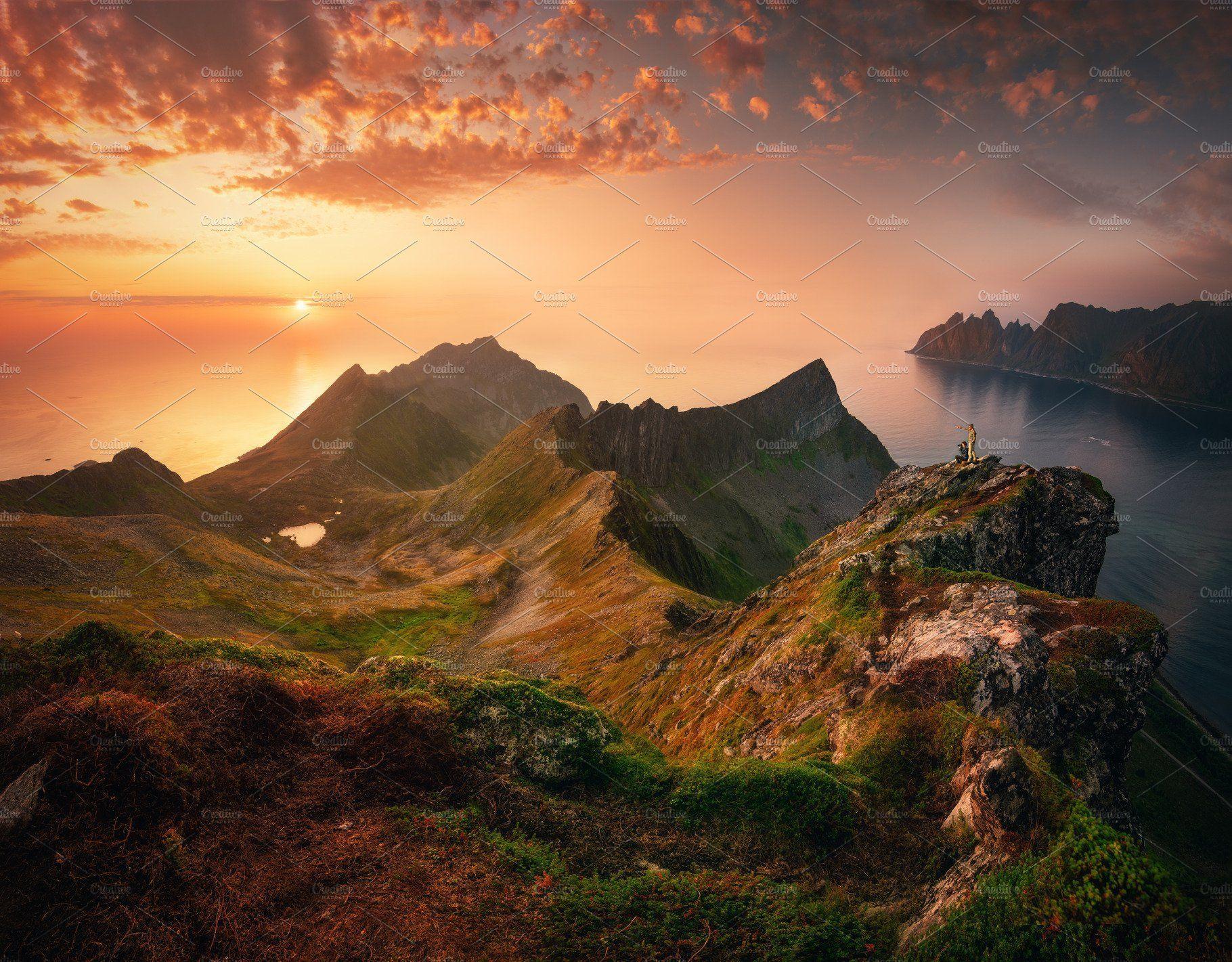 Sunset in Senja island, Northen Norway. Nature photography ...