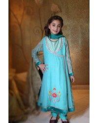 Sky Blue/Sea Green Chiffon Dress