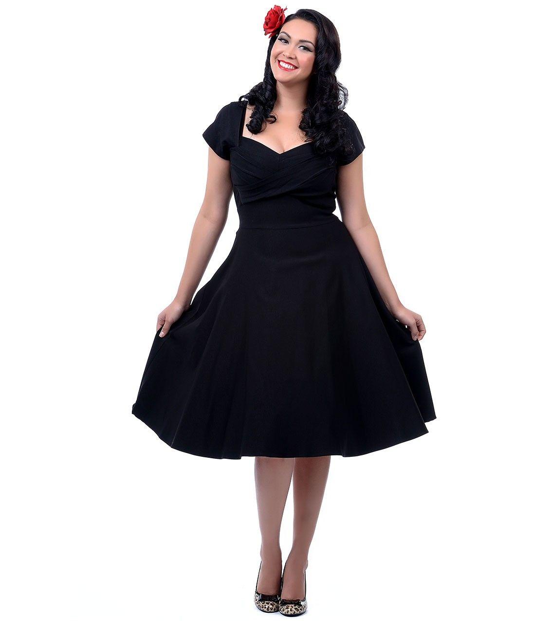 Plus Size Cap Sleeve Black Dress