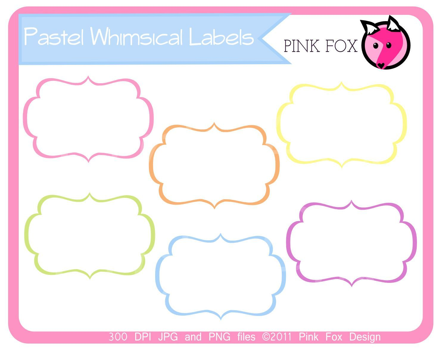 INSTANT DOWNLOAD - pastel whimsical labels - tag clipart ...