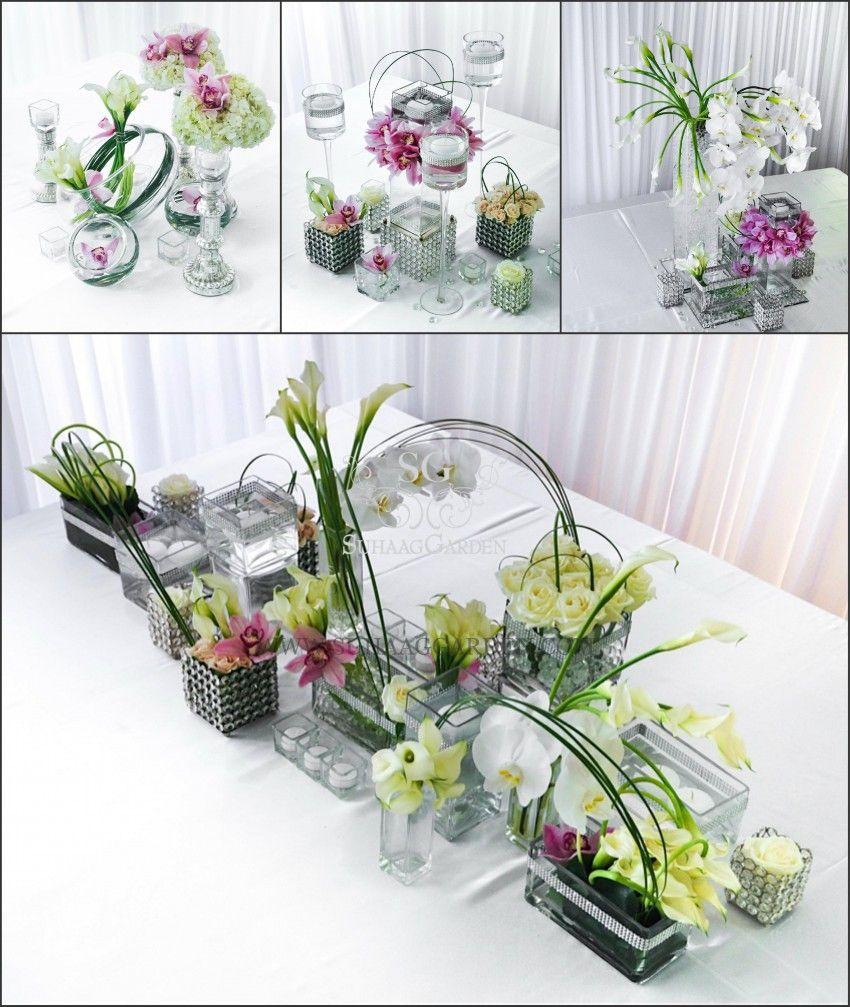 Suhaag Garden, Indian Wedding Decorator, Modern White Centerpieces ...