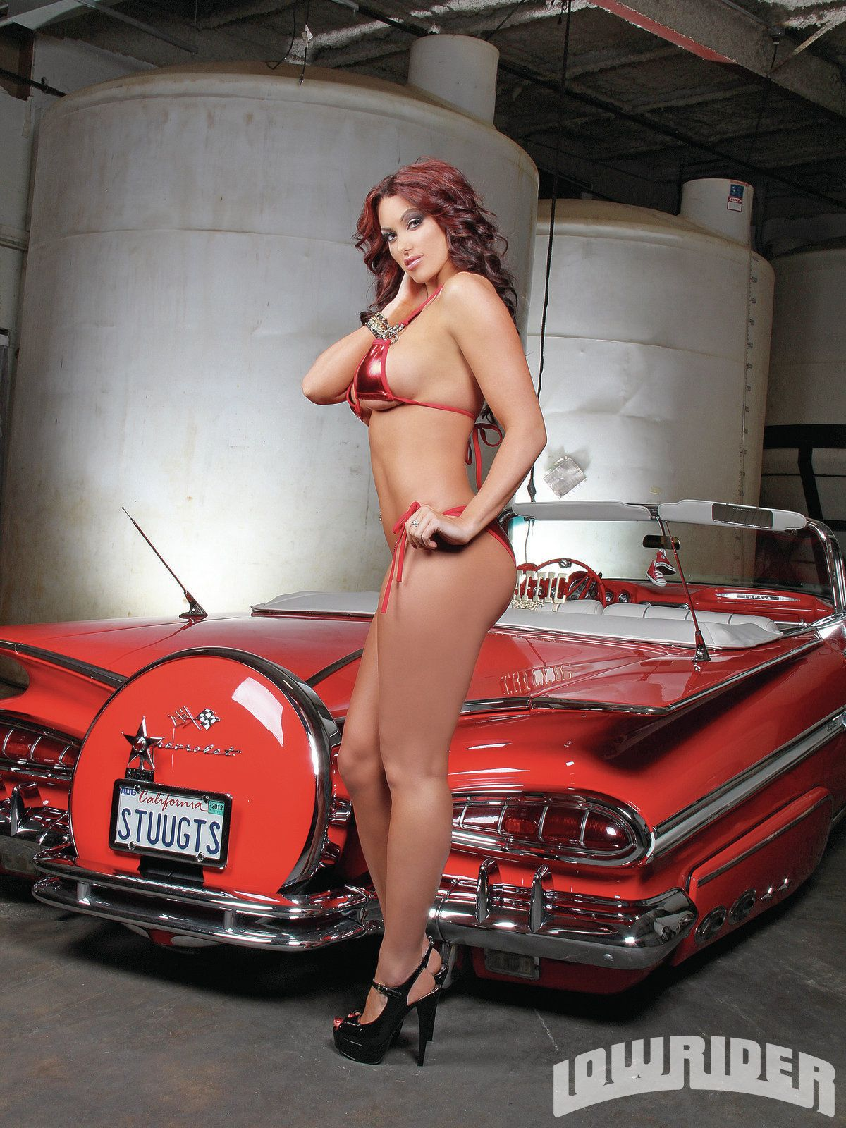 stunning lowrider girl angela breitenbach and red 1959 chevrolet impala convertible sexy. Black Bedroom Furniture Sets. Home Design Ideas