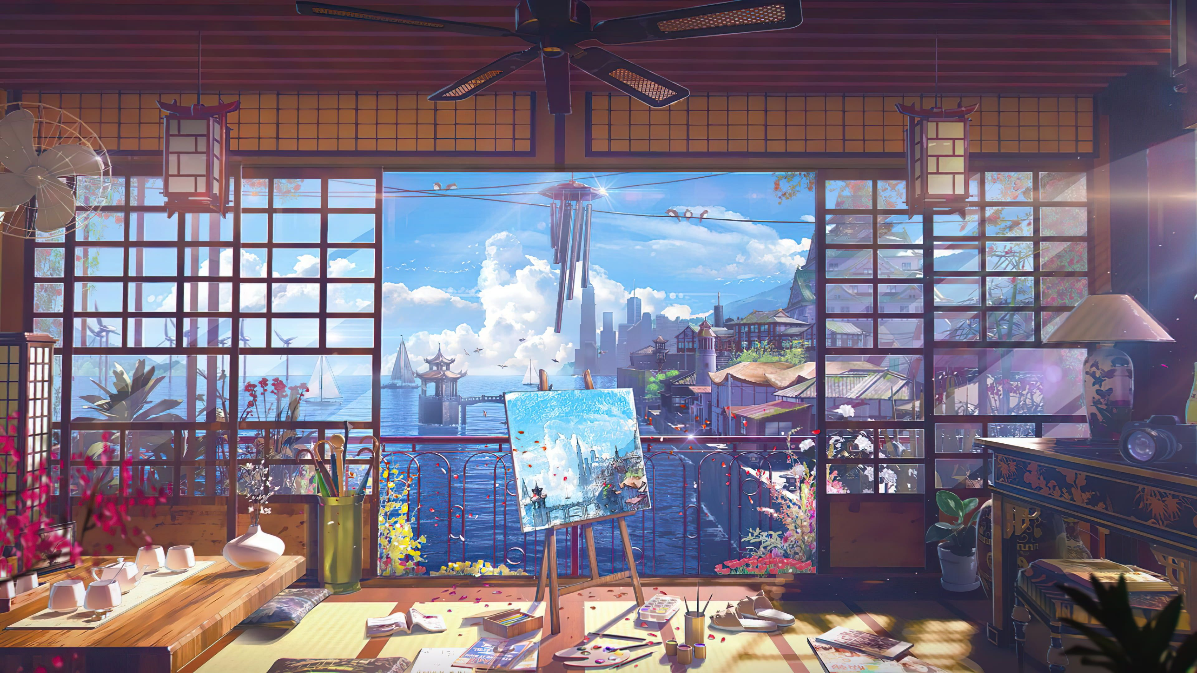 Ocean View Room Digital Art Anime Painting Clutter Japanese 4k Wallpaper Hdwallp Anime Scenery Wallpaper Digital Art Anime Anime Backgrounds Wallpapers