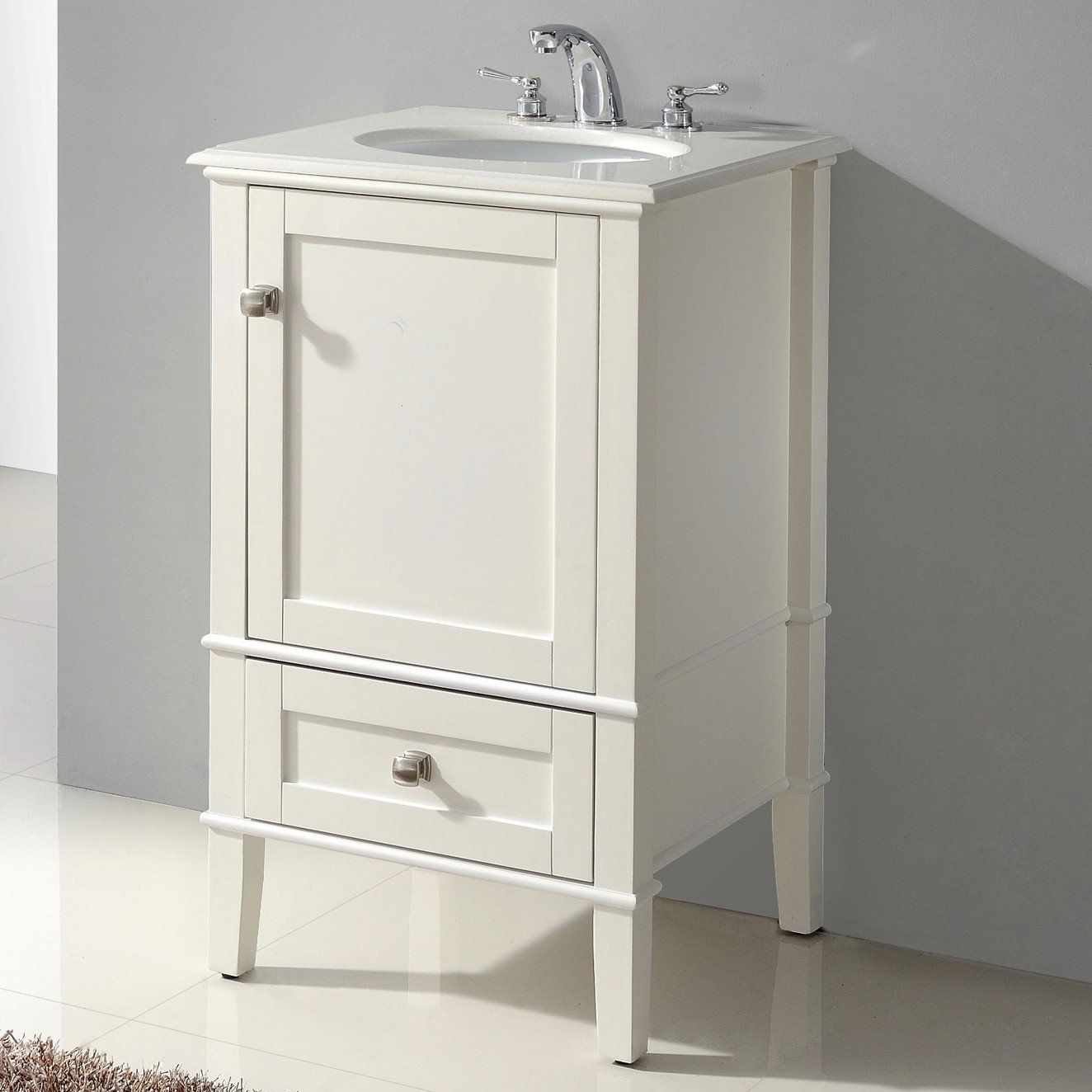 Merveilleux 21 Inch Single Bathroom Vanity Set With Off White Marble Top