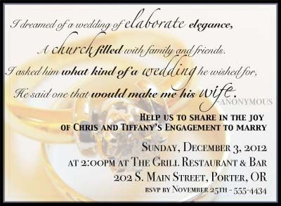 Fun Engagement Party Invitation Wording – Cute Engagement Party Invitation Wording