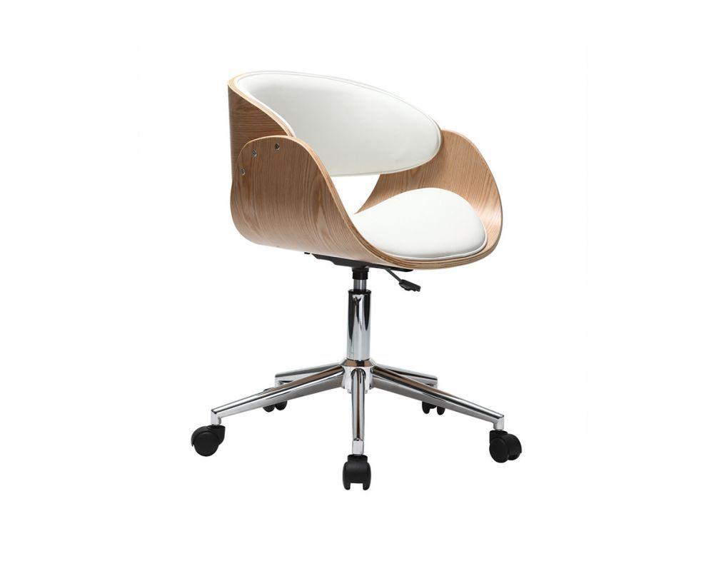 Chaise De Bureau A Roulettes Blanc Et Bois Clair Bent Zoom Fauteuil Bureau Design Chaise De Bureau Design Chaise Bureau