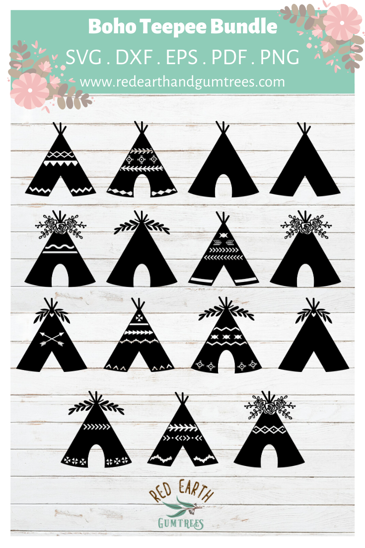 Teepee Tent Collection Woodland Boho Wedding Tribal Teepee In Svg Pdf Dxf Png Eps Formats In 2020 Wedding Decal Dxf Silhouette Cameo
