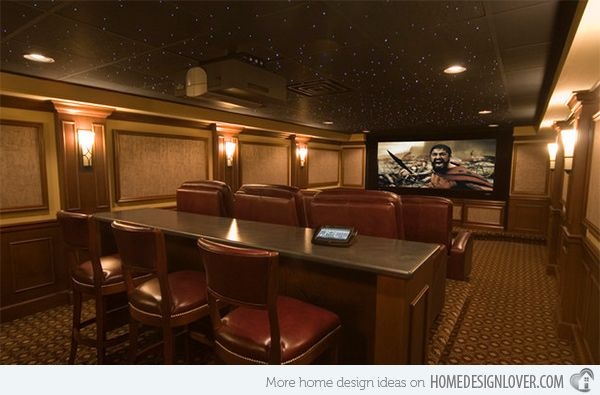 15 Interesting Media Rooms And Theaters With Bars Home Design Lover Home Theater Seating Theater Room Design Home Theater Design