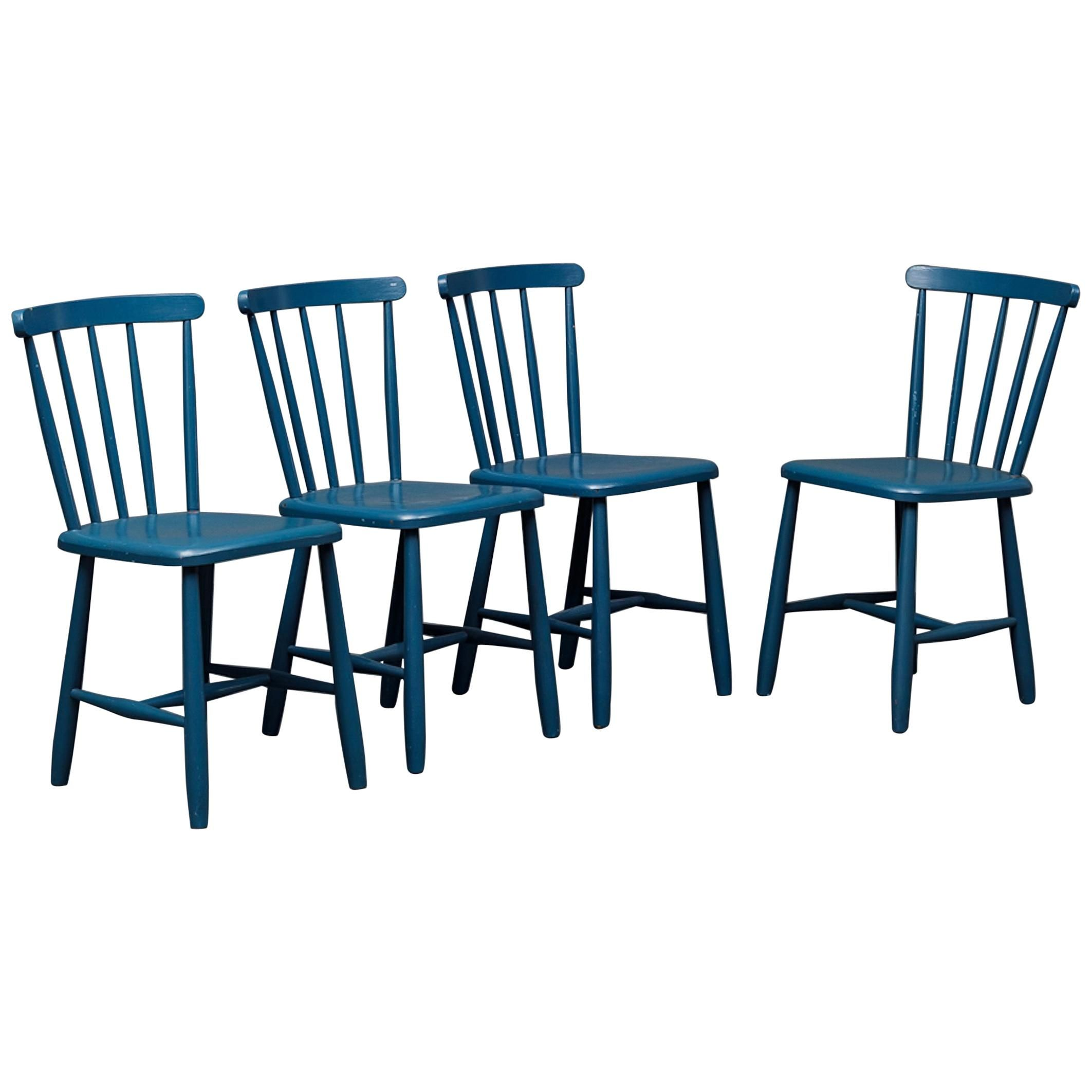 Set Of 4 Blue Painted Dining Chairs Kitchen Chair Wood For Sale At