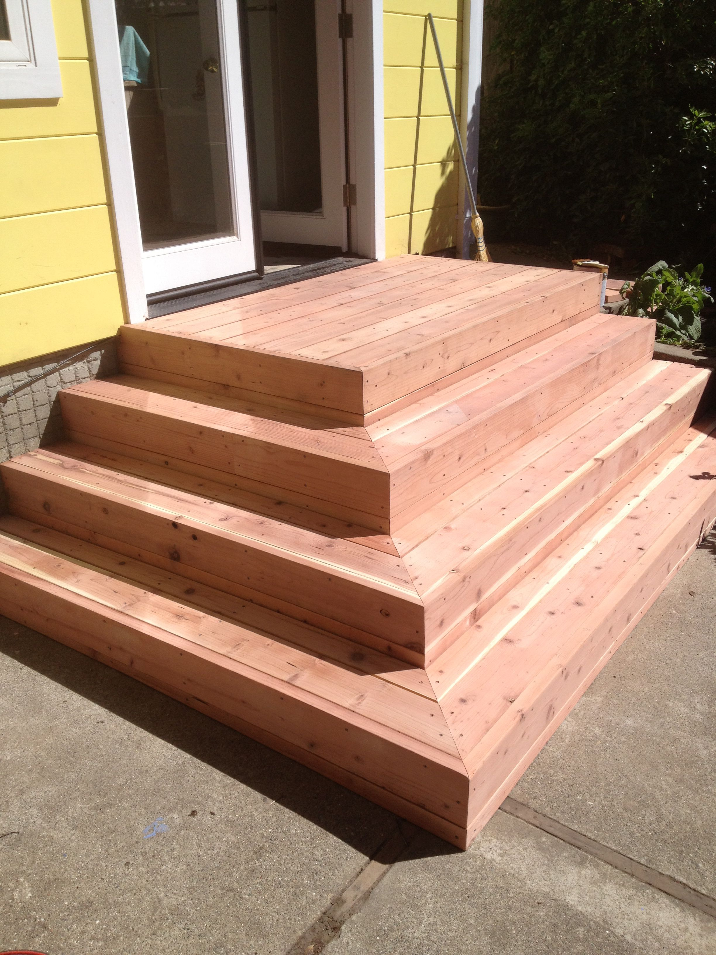 Redwood Deck Stairs Before Stain Elcerito Ca Recent