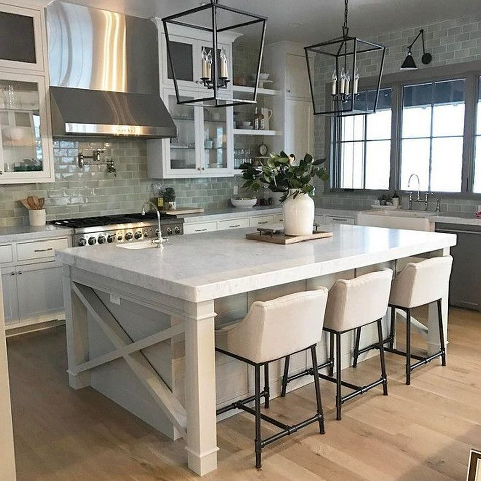 Island Kitchen Design Ideas: Vintage Farmhouse Kitchen Island Inspirations 28