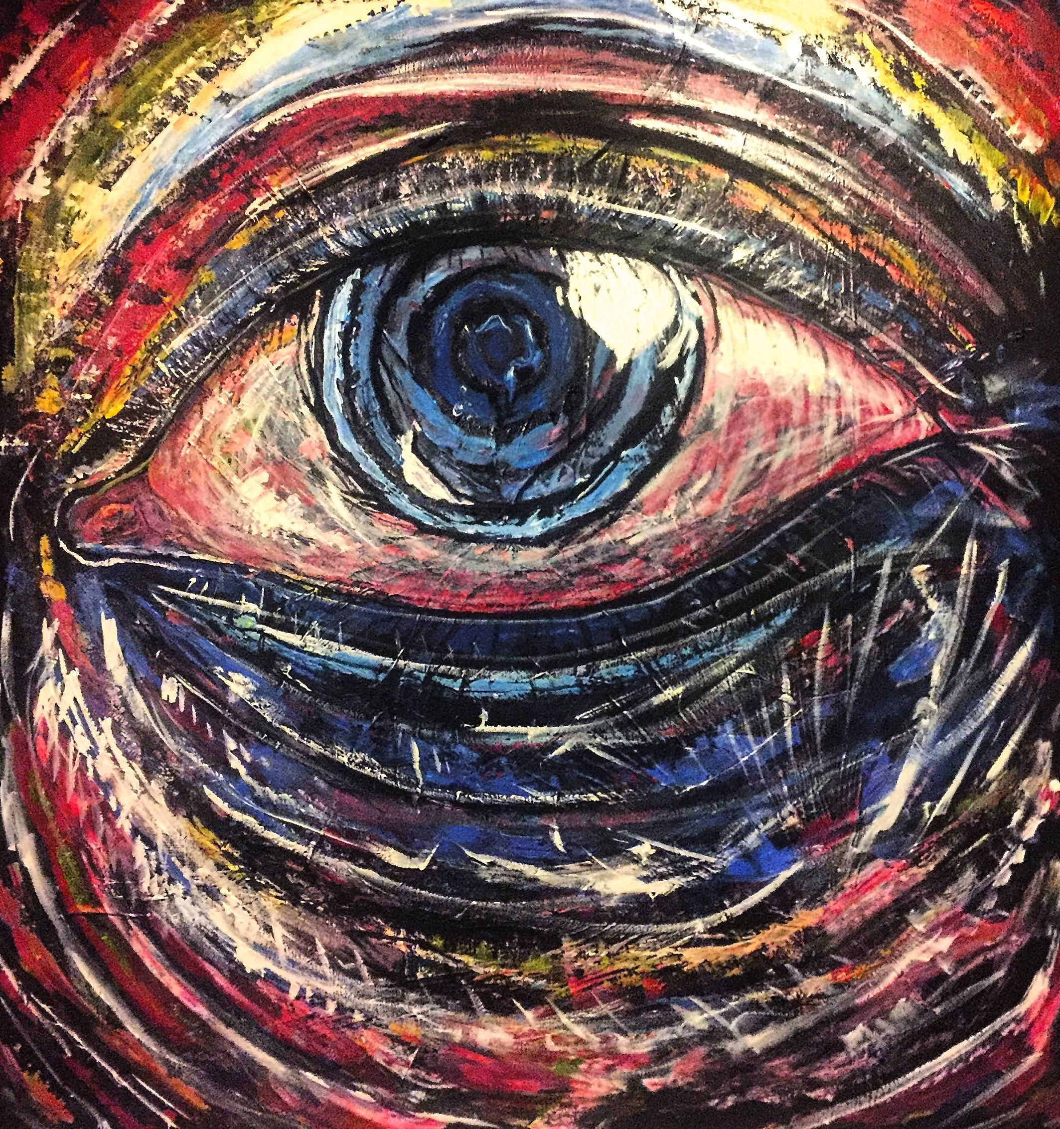 EYE - Acylic painting 4x3.8 Footer my largest canvas piece to date!