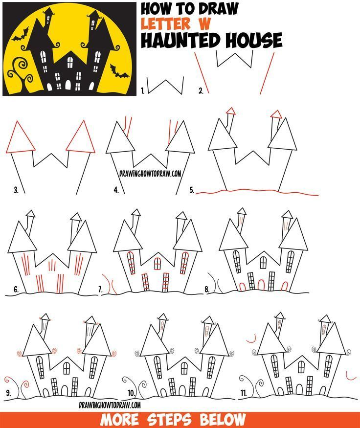 how to draw a cartoon haunted house step by step in silhouette with bats from
