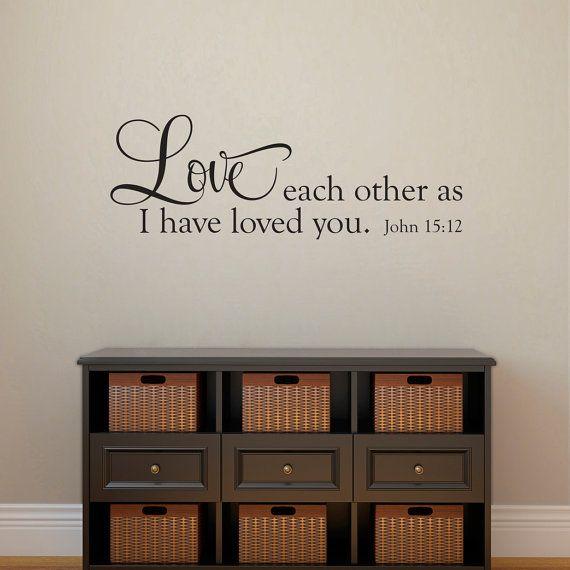 Bible Verse Wall Decal - John 15:12 - Love Each Other Wall Art - Horizontal Medium