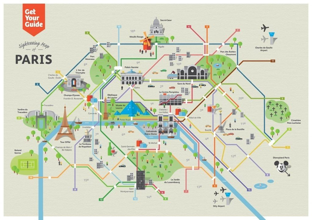 Paris Metro Map With Monuments.Paris Map With Attractions And Metro Paris Metro Map Tourist