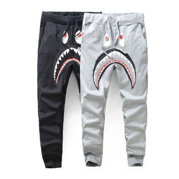 Harajuku Brand Gym Harem jogging pants Mens Sports Joggers Hip hop  Streetwear Sweatpants Fleece Bape Shark